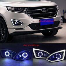 2x LED Daytime Running Fog Lights Lamp DRL For Ford EDGE 2015 2017+ Angel Eyes