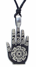 Pewter HAMSA / HAND of FATIMA Pendant on Black Cord Necklace Nickel Free Hindu 3