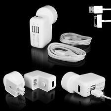 Dual USB 2 Port AU AC Wall Charger Adapter For iPhone 4 4S 3 iPod ipad + Cables