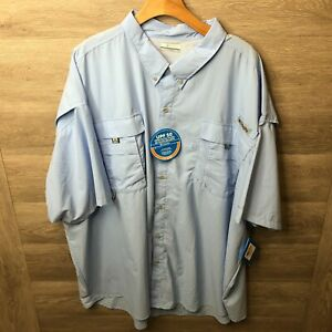 Columbia Mens Size 5X Cool Grey PFG Bahama II Short Sleeve Shirt NEW