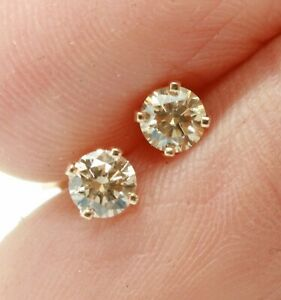 Natural Champagne Diamond Solid Yellow Gold Stud Earrings Wedding Engagement