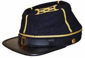 Civil War Confederate/union Leather Peak Captain's  Kepi Cap-2 Gold Braids