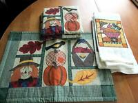 5 pc Scarecrow Kitchen Set Pot Holder Tea Towels Table Runner   (0058)