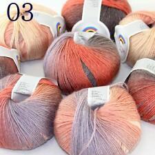 AIP Soft Cashmere Wool Colorful Rainbow Shawl DIY Hand Knitting Yarn 50grx8 03