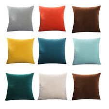 2x Throw Pillowcase Velvet Cushion Cover Solid Square Soft Couch Bed Sofa Decor