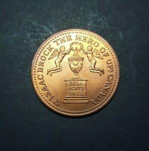 1812 SIR ISAAC BROCK THE HERO OF UPPER CANADA COPPER TOKEN-MULE of UC-5/UC-6