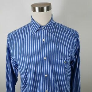 Lacoste Mens Cotton LS Button Down Two Tone Blue Striped Dress Shirt Size 42
