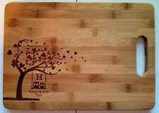 Bamboo Cutting Board Owls in love hearts Wedding Anniversary Gift 13 3/4