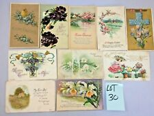 Lot of 10 Vintage 1900s Happy Easter Greeting Joy Holiday Flower Post Cards #30