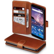 Real De Lujo Funda tipo billetera de cuero para Nokia 7 Plus-Cognac