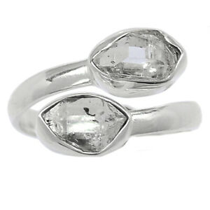 Herkimer Diamond - USA 925 Sterling Silver Ring Jewelry s.7.5 BR99281