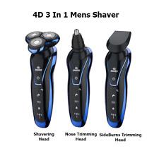 3 In 1 Mens 4D USB Rechargeable Shaver Razor Nose SideburnsTrimmer