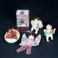 5 Vintage Christmas Tree Ornaments Schoolhouse Cloth Angel Cherubs