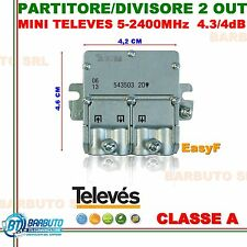 PARTITORE DIVISORE SEGNALE TV 1 INGRESSO 2 USCITE TELEVES MINI 543503