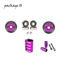 STUNT SCOOTER QUAD CLAMP GOLD PACK 100mm METAL CORE WHEELS ABEC 9 BEARINGS PEGS