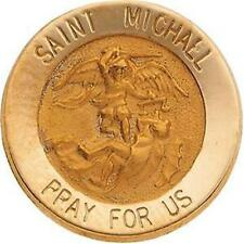 "MRT St Michael 14k Gold Medal Lapel Pin 5/8"" Saint Mens Ladies Jewelry Gift Box"