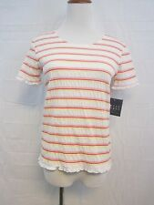 Crazy Horse Striped Shirt White Pink Yellow Ruffle Size Small New With Tags