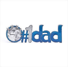 #1 DAD Blue Pewter Small Photo Picture Frame foto Gift Father's Day Fathers