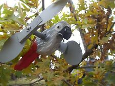 African Grey Parrot Mini Whirligigs Windmill Yard Art Hand made from wood