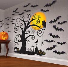 Beautiful Creepy Halloween Wall Decoration Set 30 piece Bat Owl Moon Tombstone