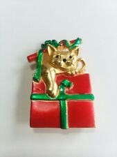 Brooch Gold Enameled Holiday X84 Ajc Christmas Gift Cat Pin