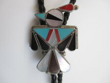 Tie Inlaid Coral Onyx Turquoise Mop Vintage Sterling Zuni Hopi Eagle Bird Bolo