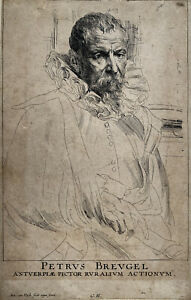 Anthony Van Dyck - Portrait Pieter Brueghel - 17th Century Old Master Etching