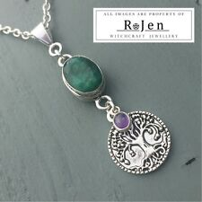 Silver Plated Faceted Emerald & Amethyst Tree of life Pendant Wicca Pagan Chakra