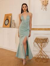 ANGEL FASHIONS Damen Deep V-Ausschnitt Plissee Split Mermaid Kleid 571