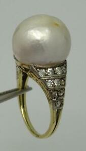 Beautiful Antique 14k Gold Natural 15mm Pearl & 0.60ct Diamond Ring UK size N