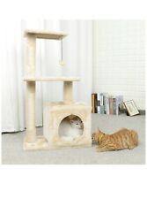 "PAWZ Road 34"" Cat Tree, Kitten Activity Tower Condo Stand with Natural Sisal"