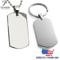 Stainless Steel Classic Plain Dog Tag Pendant Necklace or Keychain FREE ENGRAVE
