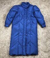 Vintage Gallery Long Puffy Duck Down Winter Coat Women M Blue Iridescent Jacket
