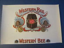 Original Old Antique - WESTERN BEE - Inner CIGAR Box LABEL - BEEHIVE
