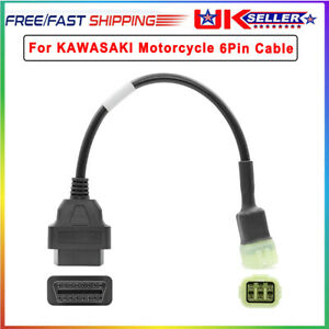 Motorcycle Scooter 6 Pin OBDII OBD2 Diagnostic Cable Adapter For Kawasaki 2017+
