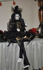 NEW WITCH SKELETON  Doll Halloween Gold GOWN SPIDER Sitting