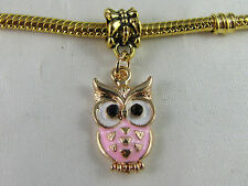 GOLD PLATED PINK OWL DANGLE CHARMS FOR EUROPEAN STYLE CHARM BRACELETS  (DC 052)