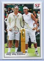 "FEDERER VS NADAL 2008 WIMBLEDON ""JULY 6TH, 2008 "" SPOTLIGHT TRIBUTE TENNIS CARD!"