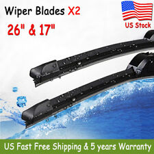"2 Pack 26"" & 17"" INCH Bracketless Windshield Wiper Blades J-HOOK OEM QUALITY New"