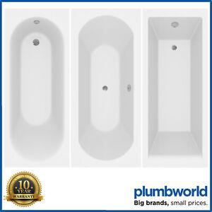 Modern Bathroom Single & Double Ended Straight Bath Gloss White Acrylic Bathtub
