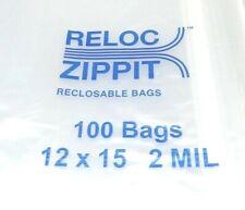 "Large Reloc Zippit Bags 12x15 Reclosable 2mil Top Seal 100 Big Size 12""x15"" Bag 00006000"