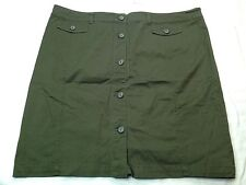 NWT New York and Company Women Green Straight Knee Length Button Down Skirt 18