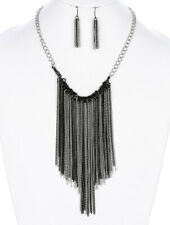 Beaded Fringe Necklace Set