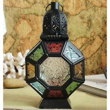 Moroccan Colorful Glass Candlestick Hurricane Lamp Stand Candle Holder Rack