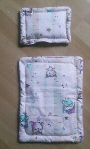 Puppenwagengarnitur,  2-teilig mit Decke u. Kissen , rosa , handmade,