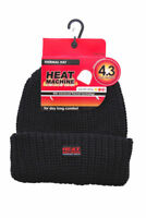 Black 4.3 Tog Fleece Insulated Thermal Beanie Hat Double Thickness Heat Machine