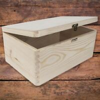 Wooden Memory Keepsake Storage Box with Lid-Clasp / Natural Decorative Wood