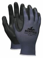 Memphis MCR Safety 13 Gauge Sandy Nitrile Coated Gloves, Small, Black Gray