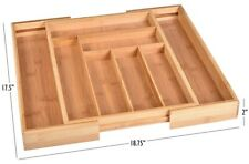 New listing Bamboo Kitchen Drawer Organizer,Easily Adjust The Wooden Tray Width