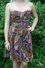 TED Baker PAISLEY silk dress size 2 Corpetto 8-10 Sheer Foderato Senza Spalline Nuovo con Etichetta